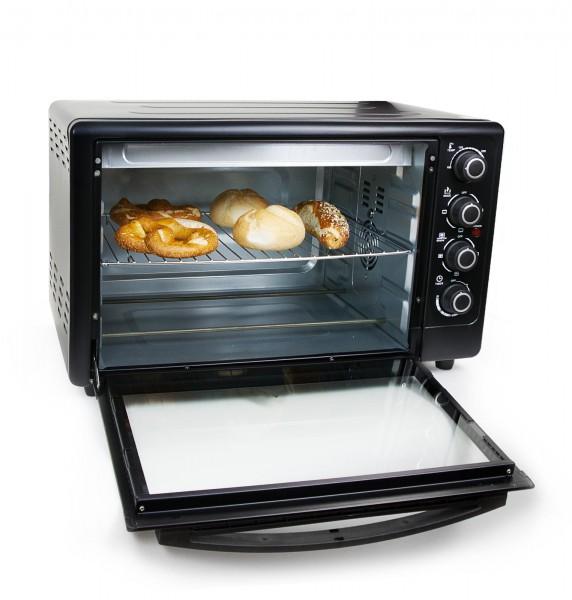 Grafner® Mini - Ofen Heissluftofen 50 Liter 2000 Watt mit Drehspieß Mini Backofen Pizzaofen