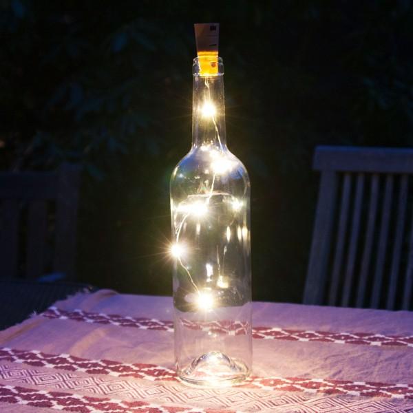 Grafner® Korken mit LED Lichterkette für Weinflaschen Drahtlichterkette Flaschenbeleuchtung