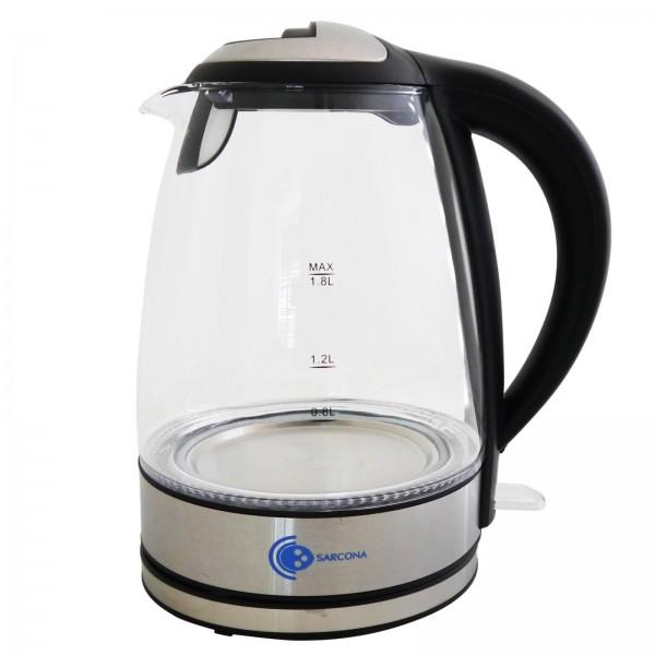 Sarcona Glas Wasserkocher 2200 Watt 1,8 Ltr.