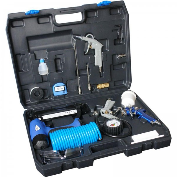 Güde Druckluftgeräte Set 15 tlg Klammer-und Nagelgerät,Reifenfüller,Farbspritzpistole,Ausblaspistole