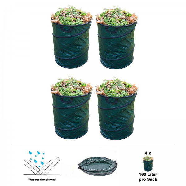 4er Set Grafner® Pop-Up Gartenabfallsack 160 Ltr. Gartentasche rund Laubsack