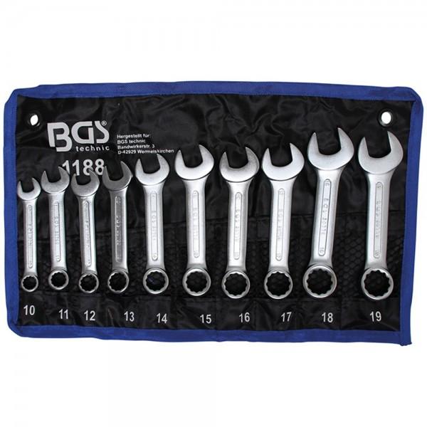 BGS 1188 Maul-Ringschlüssel-Satz extra kurz SW 10 - 19 mm 10-tlg.