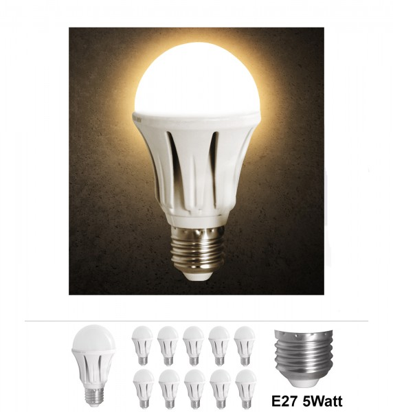 10x Grafner® LED Leuchtmittel 5 Watt E27 Aluminium 3000K
