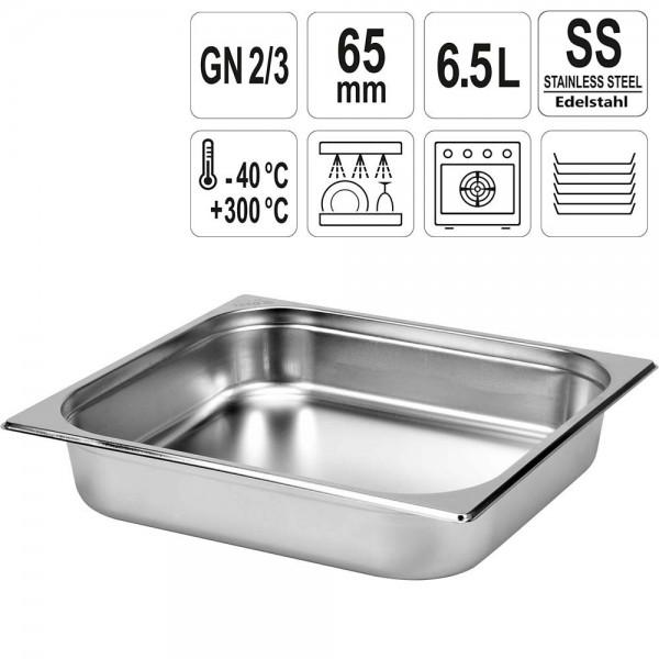 YATO Gastronorm Behälter Edelstahl 2/3 65mm