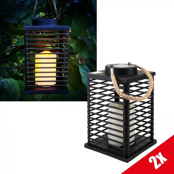 2er Set Grafner® LED Solar Laterne mit Kerze 24cm Außen Windlicht mit Kordel