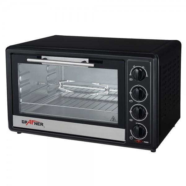 Grafner® Mini - Ofen Heissluftofen 48 Liter 2000 Watt mit Drehspieß Mini Backofen Pizzaofen