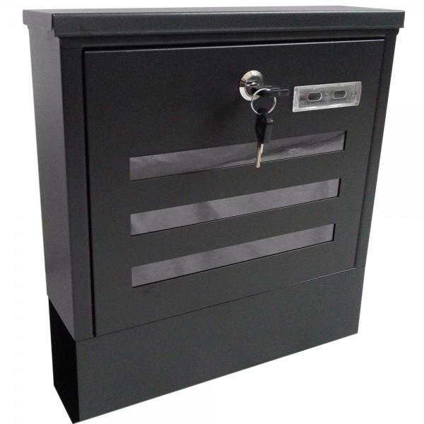 Grafner® Briefkasten mit Zeitungsrolle schwarz 3 Sichtfenstern + Namensschild