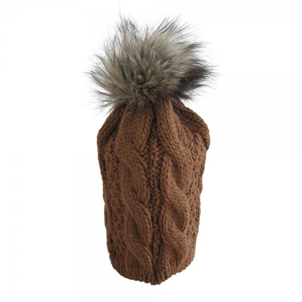 Strickmütze mit Bommel aus Fell in braun