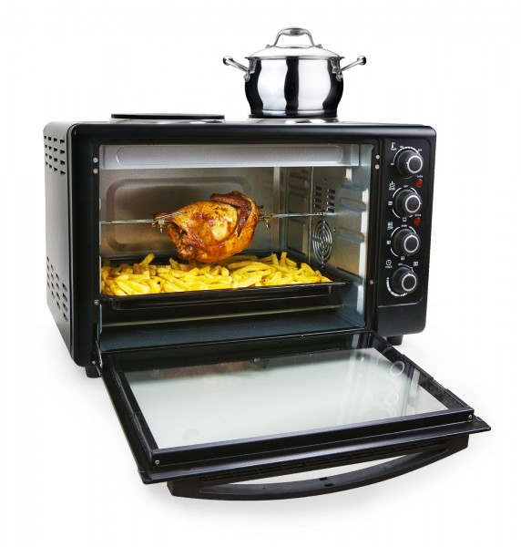 Grafner® Mini-Ofen Multifunktions Heissluftofen 50 Liter 3600W mit 2 Herdplatten,Timer & Drehspieß