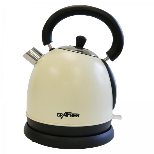 Grafner® Retro Edelstahl Wasserkocher beige 2200 Watt 1,8 Ltr.