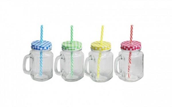 4x Vintage Trink-Glas mit Henkel, Deckel und Strohhalm in 4 Farben 450 ml