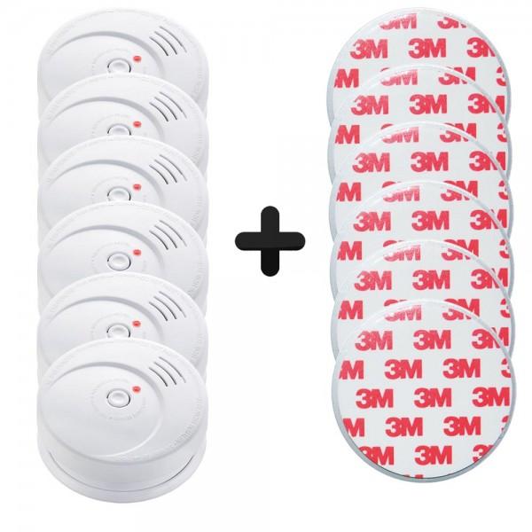6er Set Grafner Rauchmelder 85dB mit 10 Jahres Batterie und Magnetpad