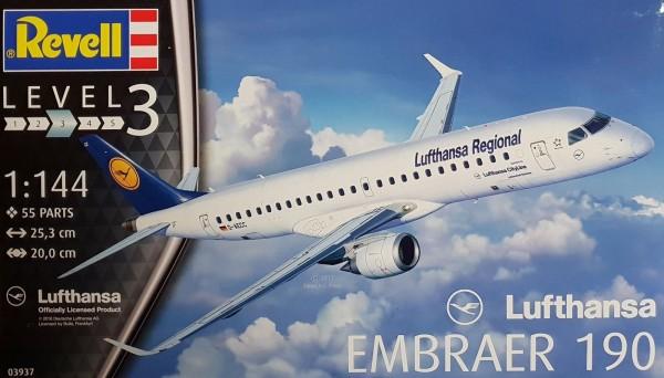 Revell Modellbausatz Embraer 190 Lufthansa Modellflugzeug Maßstab 1:144 03937