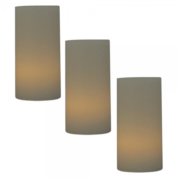 3er Vorteilspack LED Echtwachskerzen inkl. Batterie Ø 5cm Höhe 10cm