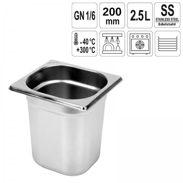 YATO Gastronorm Behälter Edelstahl 1/6 200mm