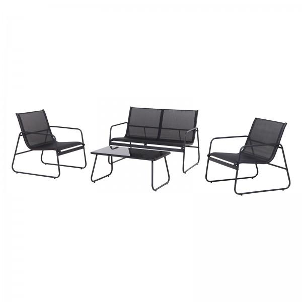 Kynast Garten Lounge Garnitur Sitzgarnitur in schwarz