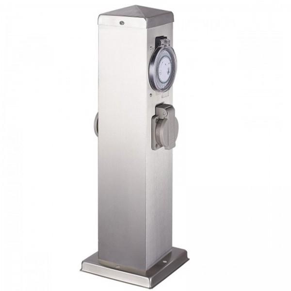 Hilight Steckdosensäule mit Timer/Zeitschaltuhr und 2 Außensteckdosen Gartensteckdose