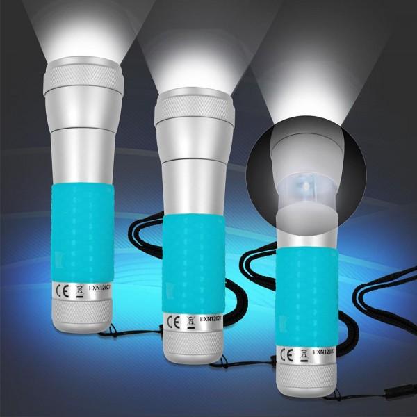 3x 2 in 1 Aluminium Taschenlampe, Tischleuchte Blau mit Power LED