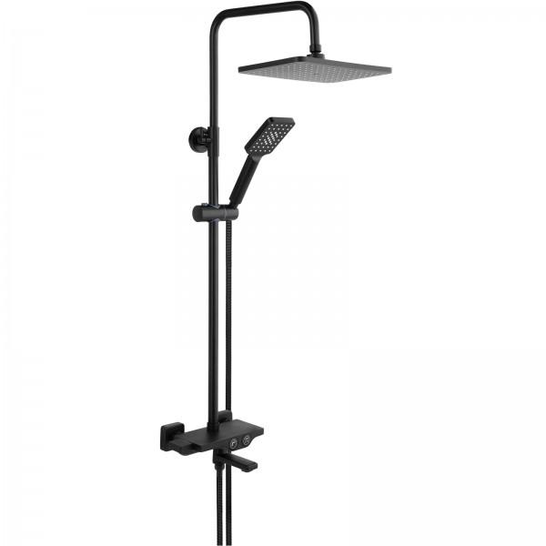 FALA Duschgarnitur mit Wasserhahn | eckig | schwarz | Noir 2 | 75889