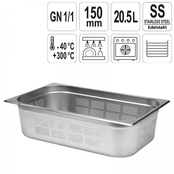 YATO Profi GN Gastronorm Behälter Edelstahl gelocht 1/1 150mm
