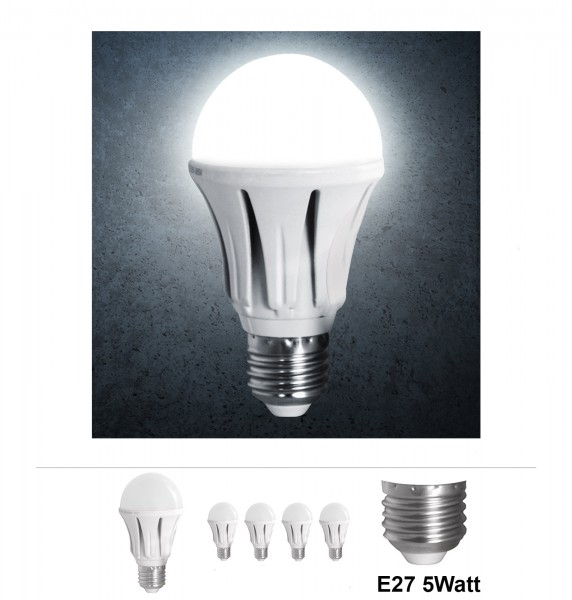 4x Grafner® LED Leuchtmittel 5 Watt E27 Aluminium 6000K