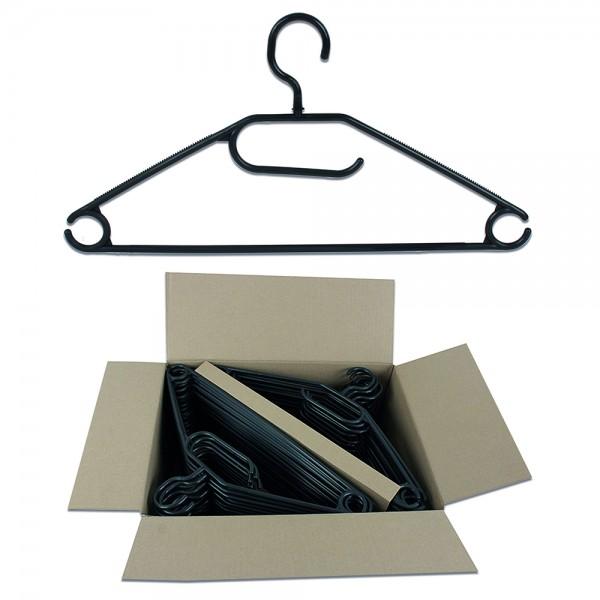 Kleiderbügel aus Kunststoff in schwarz im Vorteilspack