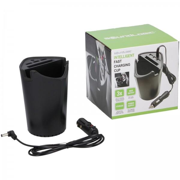 Soundlogic Kfz Ladegerät für Getränkehalterung und 3 USB Anschlüssen