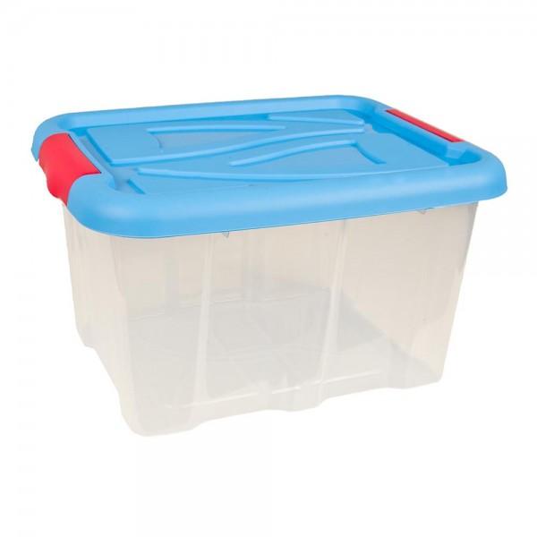 Stapelbox 30 Liter mit Deckel blau Aufbewahrungsbox stapelbar Kunststoffkisten