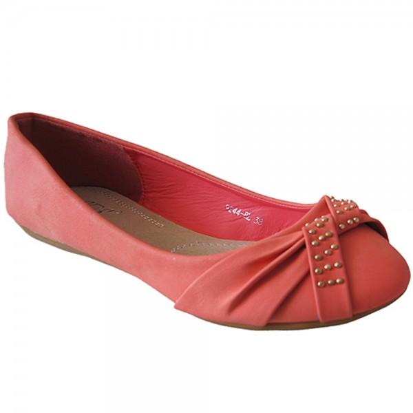 Damen Ballerina Nietenmuster und Schleife Größe: 37 / Farbe: Coral