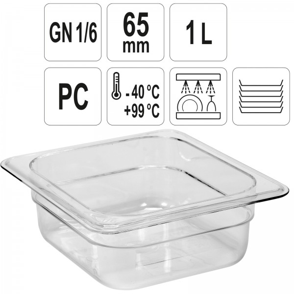YATO Profi GN Gastronorm Behälter Kunststoff 1/6 65mm