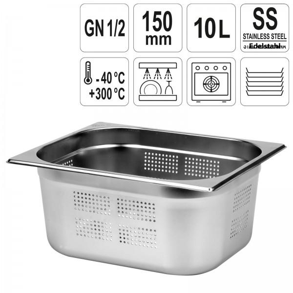 YATO Profi GN Gastronorm Behälter Edelstahl gelocht 1/2 150mm
