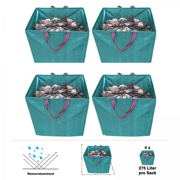 4er Set Grafner® Gartenabfallsack 275 Liter Gartentasche eckig Laubsack