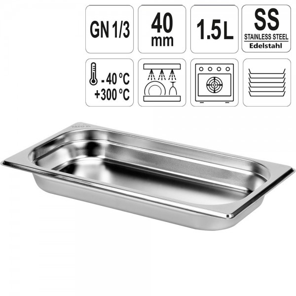 YATO Gastronorm Behälter Edelstahl 1/3 40mm