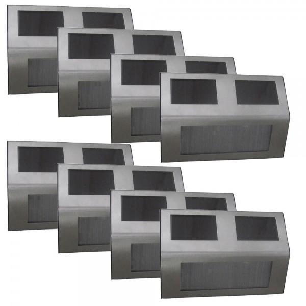 8er Set Grafner LED Solar Stufenleuchte aus Edelstahl Treppenbeleuchtung Solar Wandleuchten