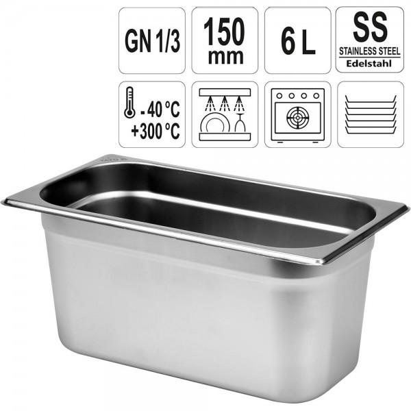 YATO Gastronorm Behälter Edelstahl 1/3 150mm