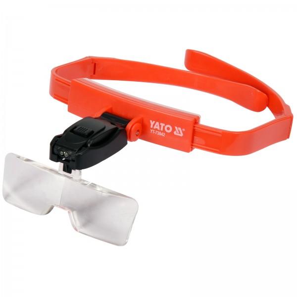 YATO Profi Kopfband-Lupe mit Beleuchtung   Vergrößerung 1x/1,5/2x/2,5x/3,5x
