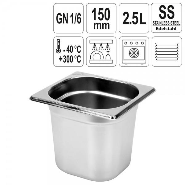 YATO Gastronorm Behälter Edelstahl 1/6 150mm