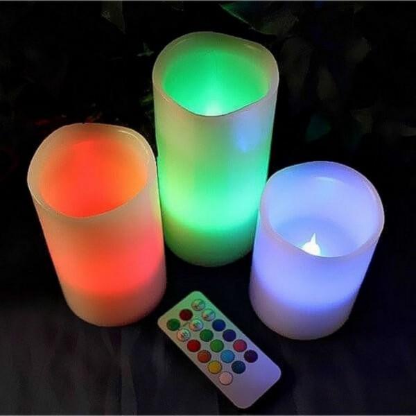 3er Set LED Echtwachskerzen mit Fernbedienung RGB Farbwechsel Ø 7,5cm Höhe 10cm / 12,5cm / 15cm