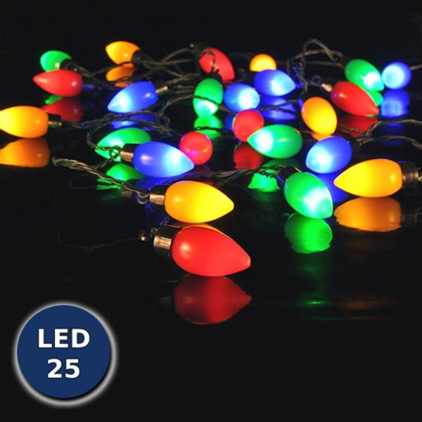 Party Lichterkette mit 25 LED Lampen in Tropfenform 9,80m