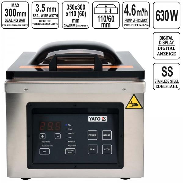 YATO Profi Vakuumkammer Verpackungsmaschine bis 300mm 630 Watt YG-09317