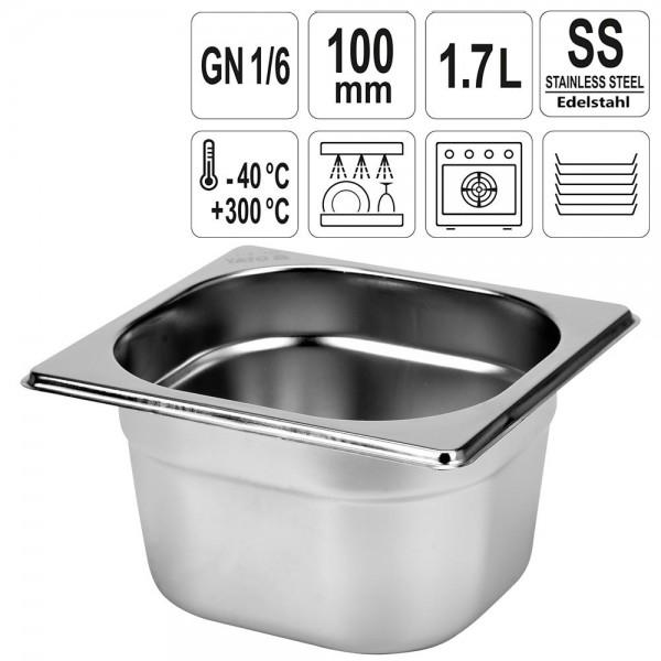 YATO Gastronorm Behälter Edelstahl 1/6 100mm