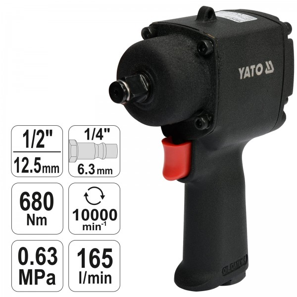 YATO Mini Druckluft Schlagschrauber YT-09513 680 Nm 125 mm