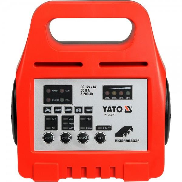 YATO Profi 12V/6V Batterieladegerät Automatik Batterielader 8A 5-200Ah YT-8301