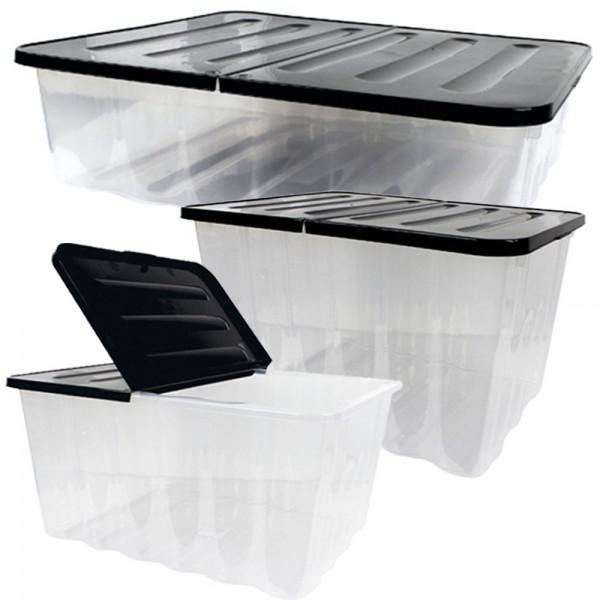 WAVE Box 3er Set mit klappbarem Deckel, 10L/28L/30L