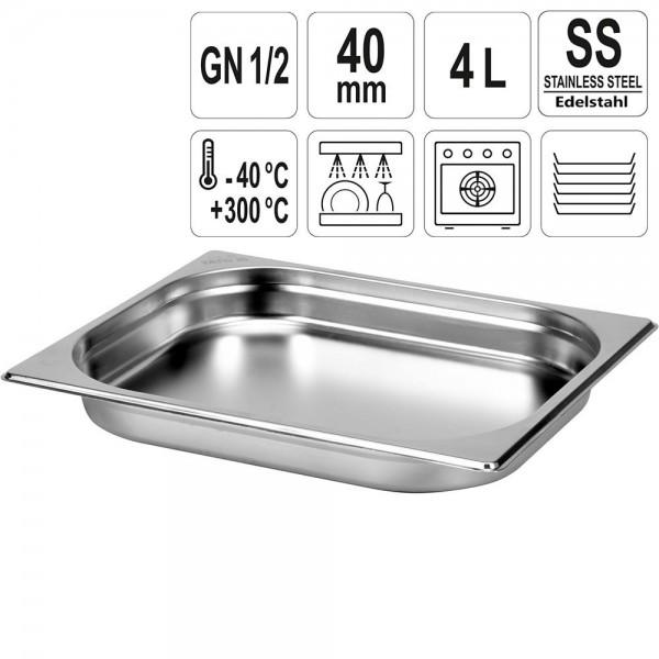 YATO Gastronorm Behälter Edelstahl 1/2 40mm