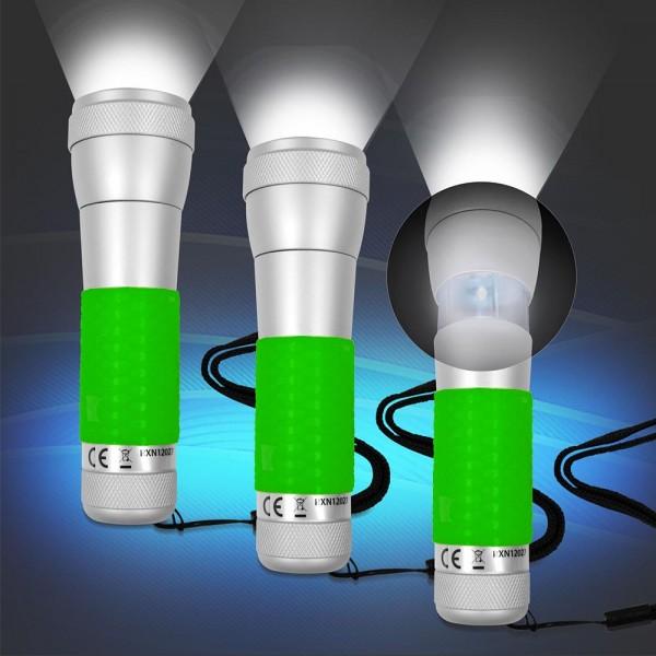 3x 2 in 1 Aluminium Taschenlampe, Tischleuchte Grün mit Power LED