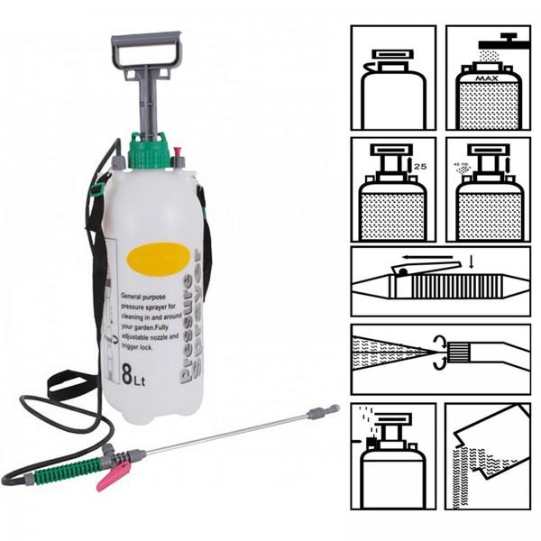 Drucksprüher 8 L mit Edelstahllanze und Gurt Pumpsprüher Unkrautspritze Pflanzensprühgerät