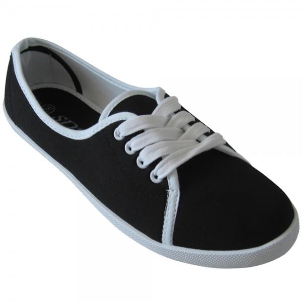 Damen Sneaker, Ballerina mit Schnüren Größe: 36 / Farbe: Schwarz
