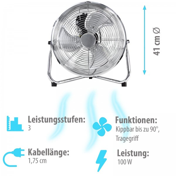 Grafner® Bodenventilator Tischventilator 41cm