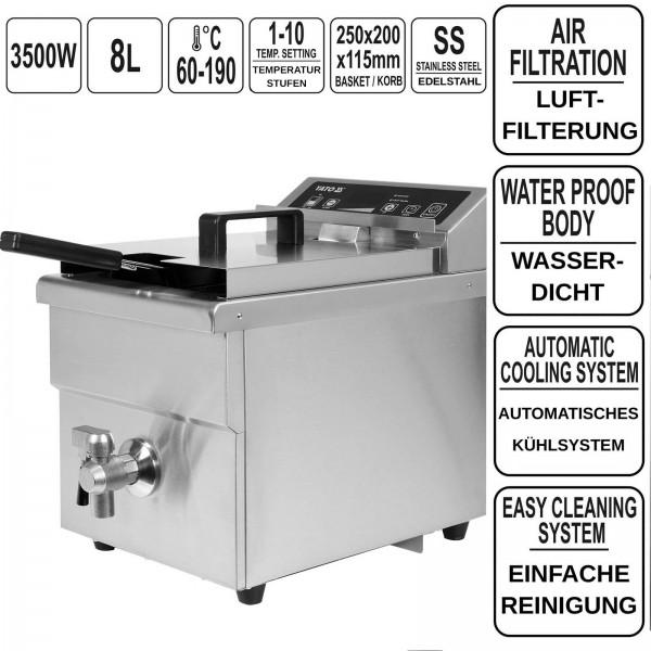 YATO Profi Induktionsfritteuse 8 Liter 3,5KW